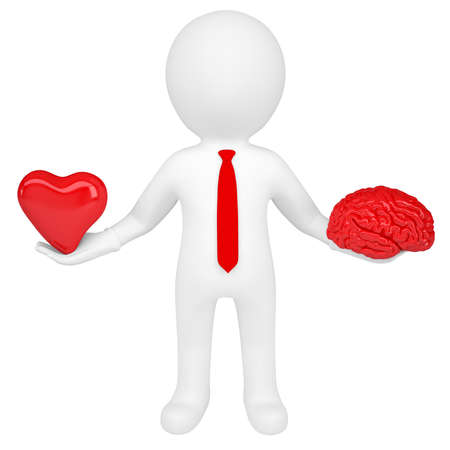 human mind: 3d man holding a heart and a brain  Isolated render on a white background