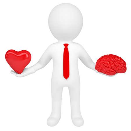 hartje cartoon: 3d man met een hart en een brein Geïsoleerde render op een witte achtergrond