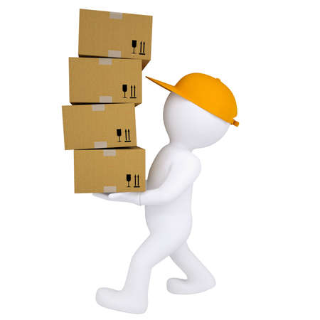 carries: 3d man carries boxes  Isolated render on white background Stock Photo