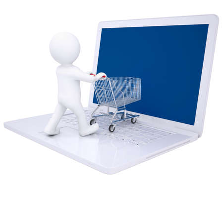 3d man doing online shopping  Isolated render on a white background photo