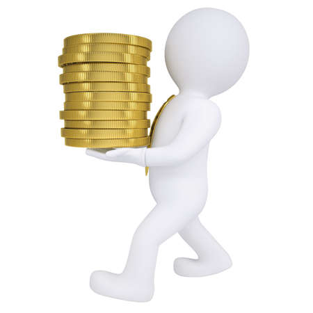 commission: 3d man carries a gold coin  Isolated render on a white background