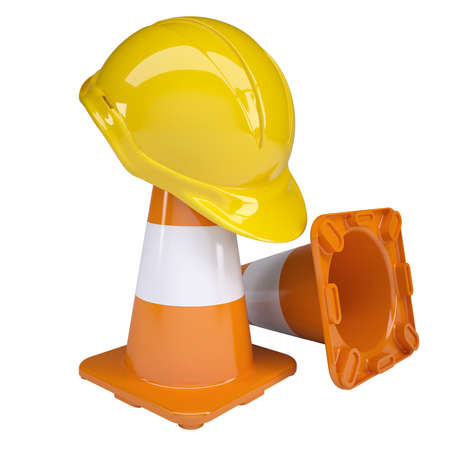 Traffic cone and helmet  Isolated render on white background Stock Photo - 18234771