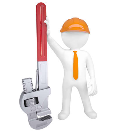 3D man holding a pipe wrench  Isolated render on a white background photo