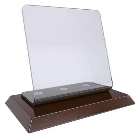 trofeo: Escritorio transparente render placa aislada en un fondo blanco Foto de archivo