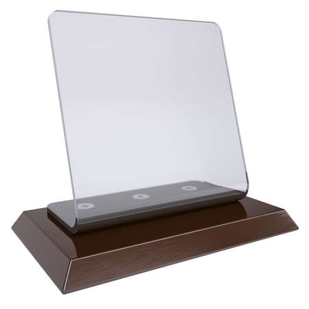 showcase: Transparent desktop plate  Isolated render on a white background Stock Photo