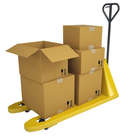 forwarding agency: Pallet Truck with boxes  Isolated render on a white background Stock Photo
