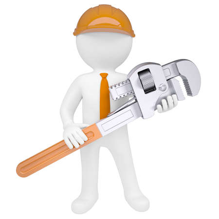 3D man holding a pipe wrench  Isolated render on a white background Stock Photo - 18246293