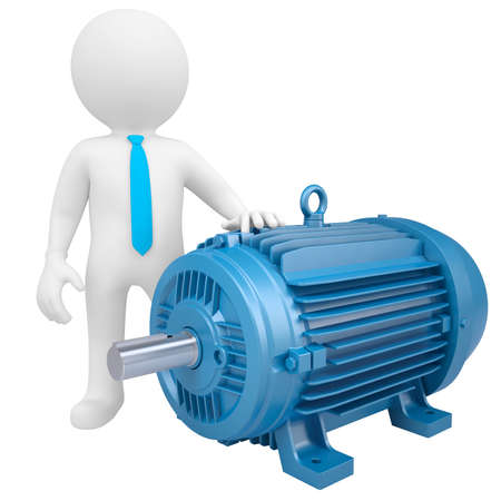electromagnetism: 3D man standing next to the motor  Isolated render on a white background Stock Photo