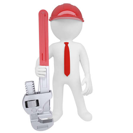 3D man holding a pipe wrench  Isolated render on a white background Stock Photo - 18246252
