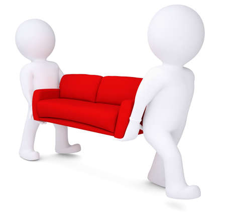 Two white 3d man bear red sofa  Isolated render on a white background photo