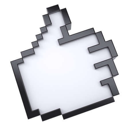 Pixel thumbs up  Isolated render on white background photo