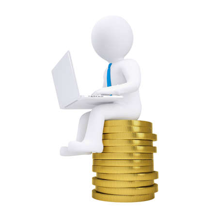 fortune concept: 3d man with laptop sitting on a pile of gold coins  Isolated render on a white background