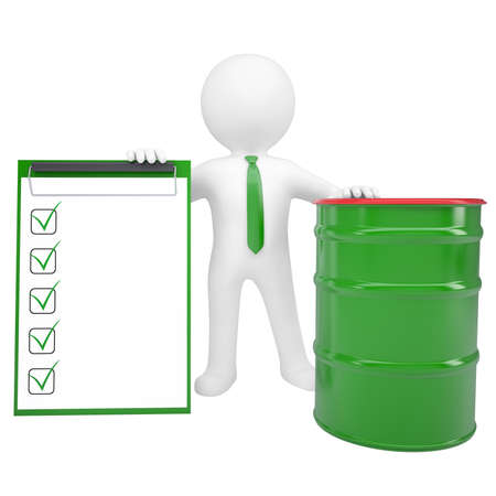pail tank: 3d white man holding a paper holder and a green barrel  Isolated render on a white background