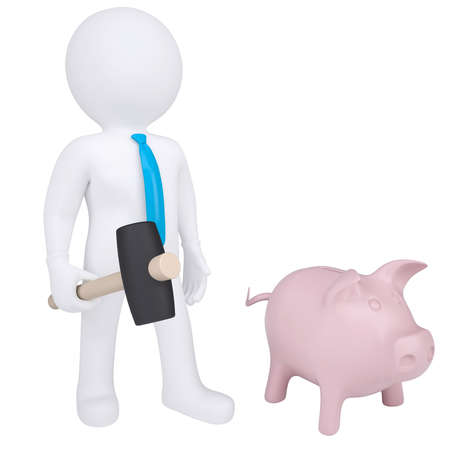 3d white man with a hammer next to the piggy bank  Isolated render on a white background Stock Photo - 18376922