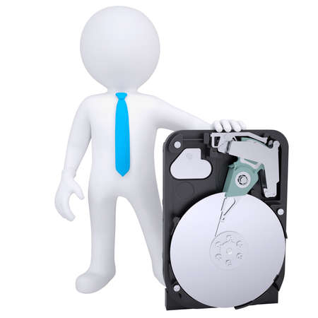 3d hombre blanco que sostiene un render disco duro aislada sobre un fondo blanco