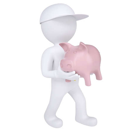 3d white man holding a piggy bank  Isolated render on a white background photo