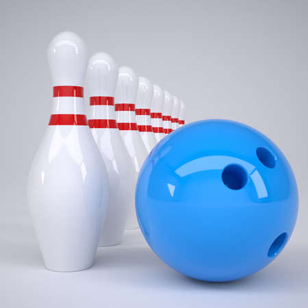Bowling ball and pins  Render on a gray background photo
