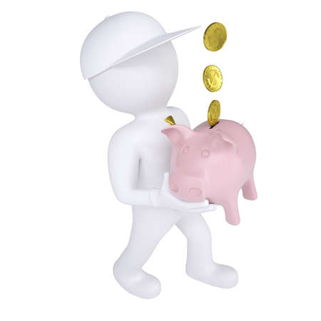 icon idea idiom illustration: 3d white man holding a piggy bank  Isolated render on a white background