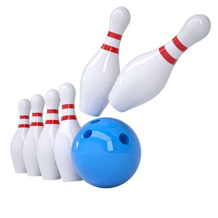 Bowling ball knocks down pins  Isolated render on a white background photo