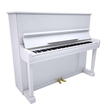 acoustically: White piano  Isolated render on a white background Stock Photo
