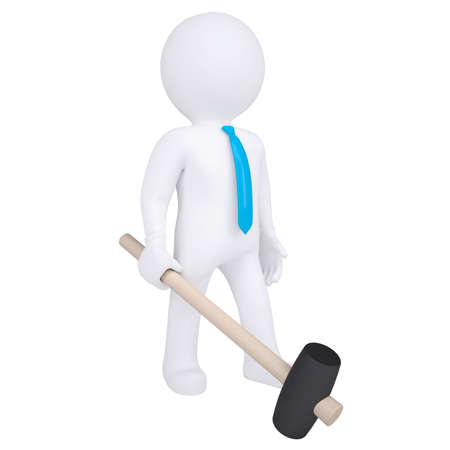 3d white man with a hammer  Isolated render on a white background photo