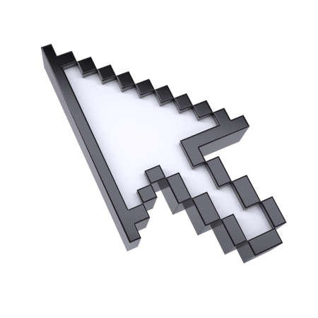 The arrow pointer by pixels  Isolated render on a white background photo