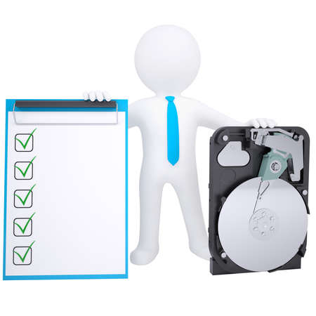 3d hombre blanco que sostiene un render disco duro aislada sobre un fondo blanco Foto de archivo