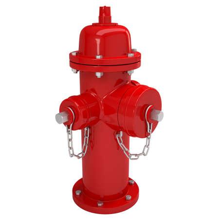 borne fontaine: Red rendu bouche d'incendie isol� sur un fond blanc