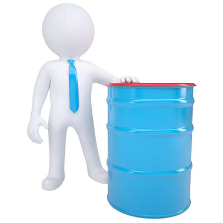 pail tank: 3d white man and a blue barrel  Isolated render on a white background