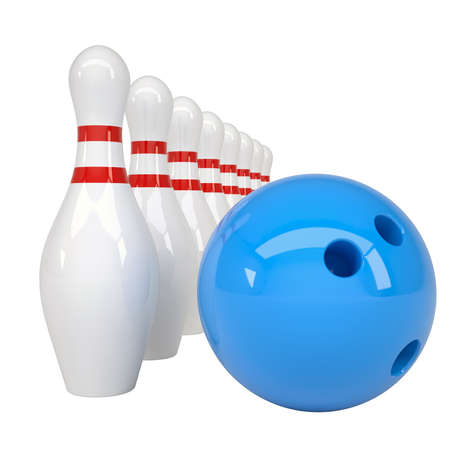 bowling ball: Bowling ball and pins  Isolated render on a white background