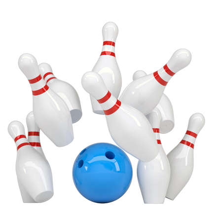 Blue ball knocks down pins for bowling  Isolated render on a white background