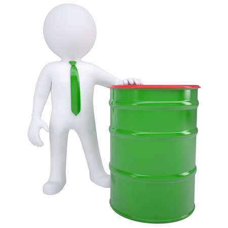hogshead: 3d white man and a green barrel  Isolated render on a white background