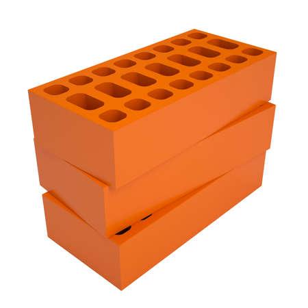 brick: Rote Ziegel isoliert render auf wei�em Hintergrund Lizenzfreie Bilder