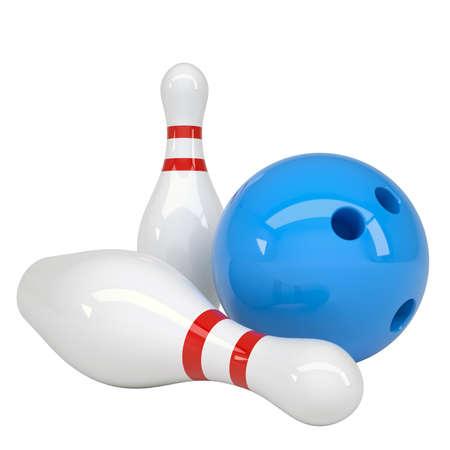 bolos: Bola de bowling y los pines Aislado hacer sobre un fondo blanco Foto de archivo