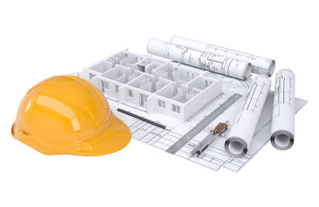 electrical engineer: Wall of the house on the architectural drawings  Isolated render on a white background Stock Photo