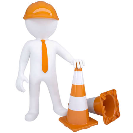 3d white man with traffic cones  Isolated render on a white background Stock Photo