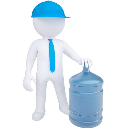 consignment: 3d white man with a big bottle of water  Isolated render on a white background Stock Photo