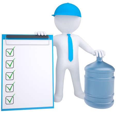 paper delivery person: 3d white man with a big bottle of water  Isolated render on a white background Stock Photo