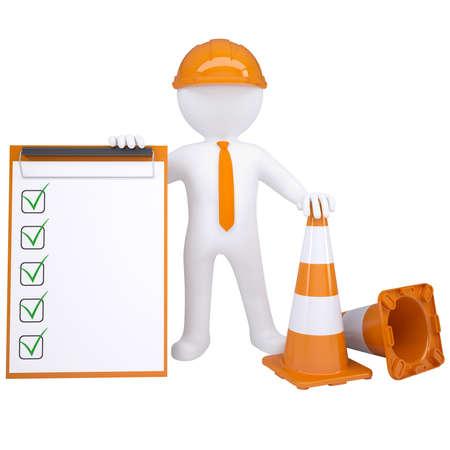 accidente laboral: 3d hombre blanco con conos de tr�fico Aislado hacer sobre un fondo blanco