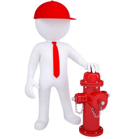 3d white man next to a fire hydrant  Isolated render on a white background photo