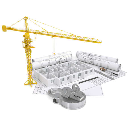 Turnkey construction  Isolated render on a white background photo