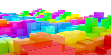 Abstract wall of colored cubes  3d render Stock Photo - 18815461
