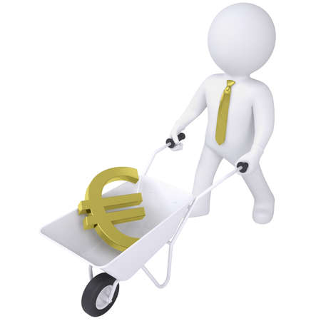 3d white man carries a wheelbarrow with the euro  Isolated render on a white background Stock Photo - 18814108