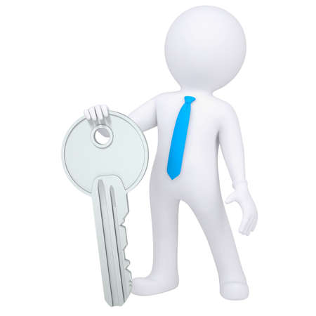 leadership key: 3d white man holding a metal key  Isolated render on a white background