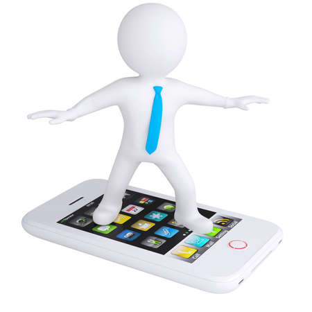 display figure: 3d white man is on the phone  Isolated render on a white background