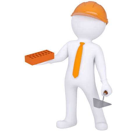 mason: 3d white man in helmet holding brick and trowel  Isolated render on a white background Stock Photo