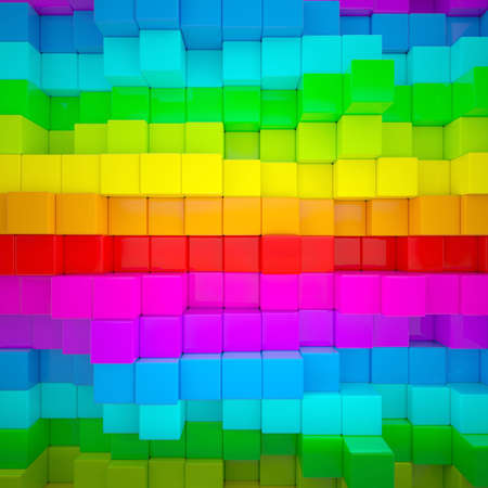 Abstract wall of colored cubes  3d render photo