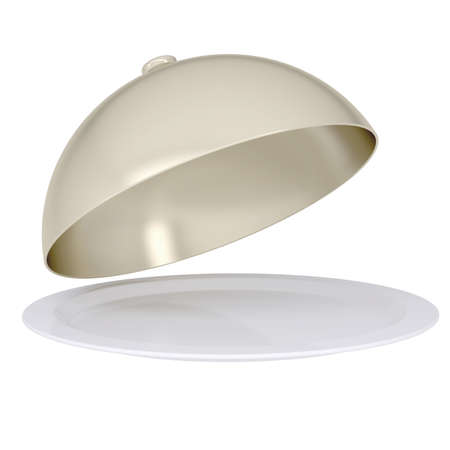 it is isolated: Glossy ceramic salver dish with an cover over it  Isolated render on a white background Stock Photo