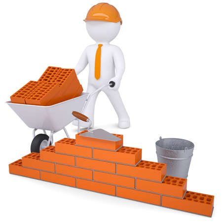 brickwork: 3d white man in a helmet builds a wall  Isolated render on a white background Stock Photo