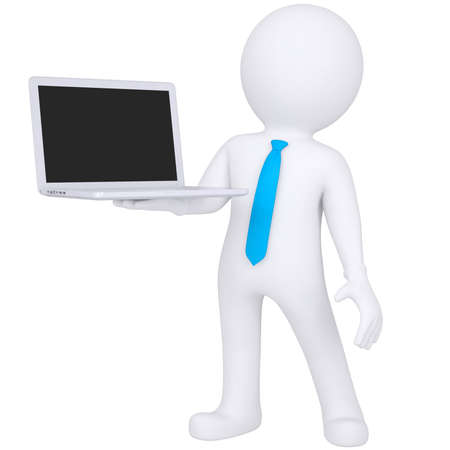 sales manager: 3d white man standing with a laptop  Isolated render on a white background
